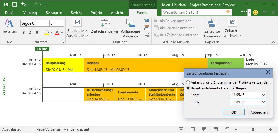 Datumsbereich festlegen in MS Project 2016