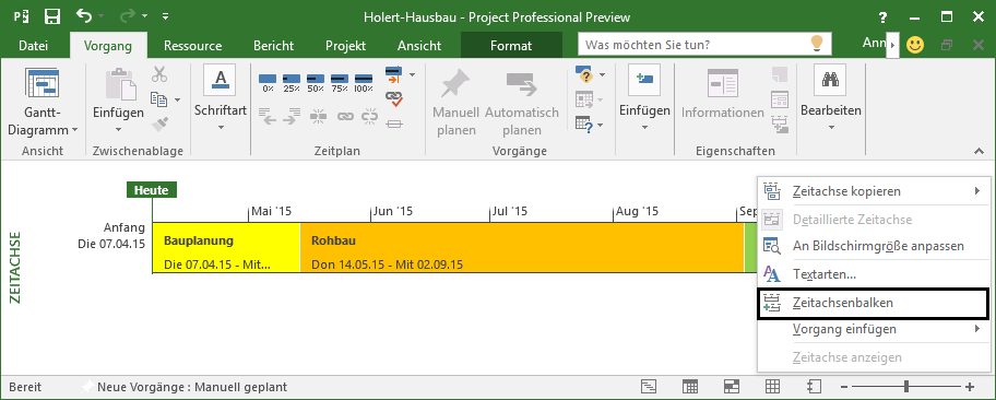 Neue Zeitachse in MS Project 2016 anlegen