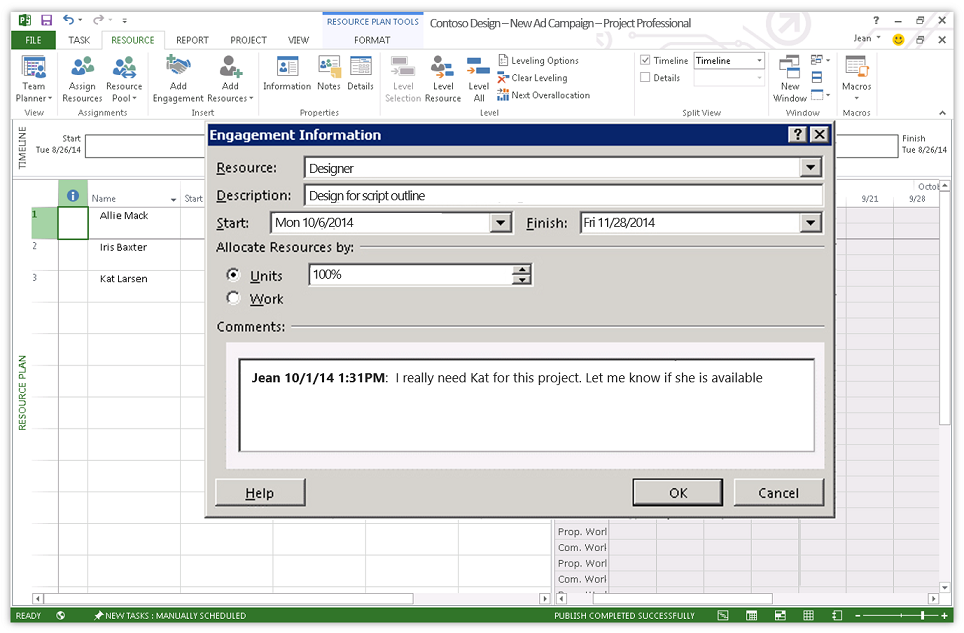 Ressourcenanfrage in Microsoft Project 2016