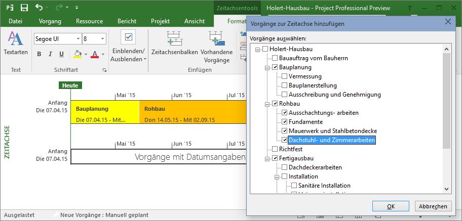 Zeitachsenvorgänge hinzufügen in MS Project 2016