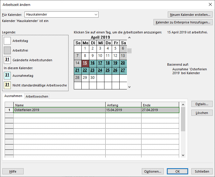 MS Project Kalender